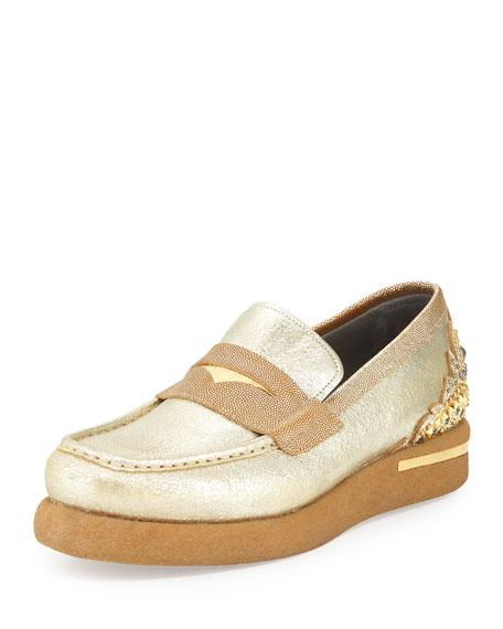Versace Men's Embellished Leather Loafer, Gold/Metallic