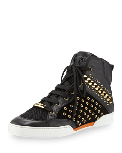 Men's Embellished Leather High-Top Sneaker, Black/Gold