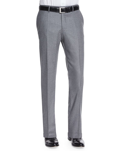Wool/Cashmere Flannel Trousers, Gray