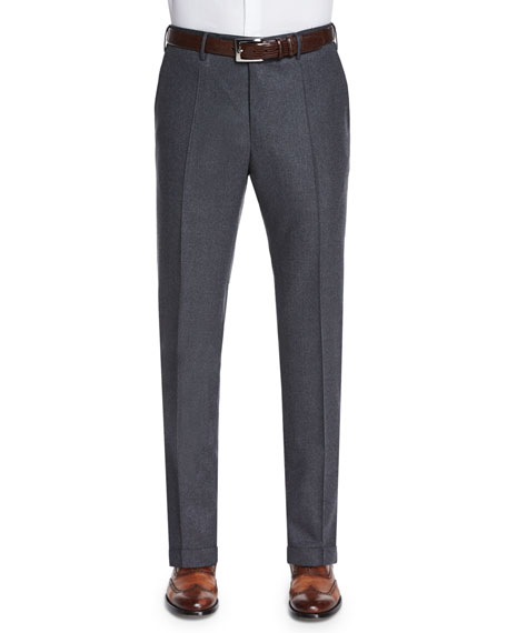 Incotex Wool/Cashmere Flannel Trousers, Charcoal