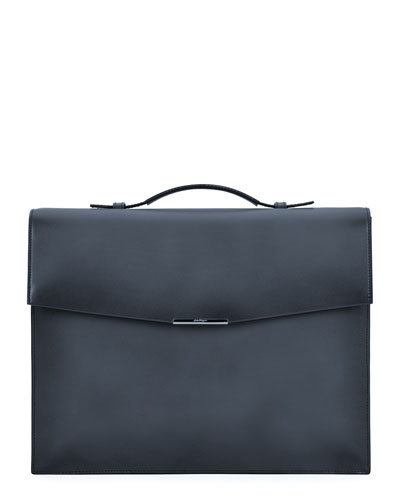 Single Gusset Leather Briefcase, Gray