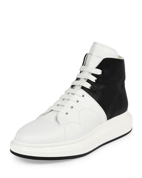 Alexander McQueen Colorblock Leather High-Top Sneaker, Black/White