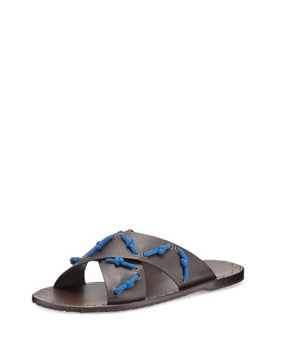 Crisscross Leather Sandal with Eyelet-Lacing, Brown