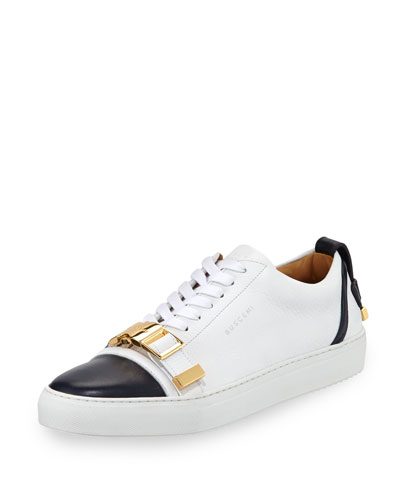 50mm Cap-Toe Leather Low-Top Sneaker with Strap, Navy/White