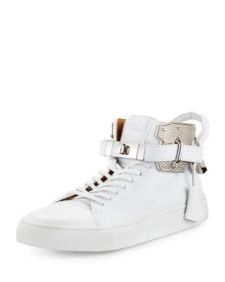 Buscemi Men's 100mm High-Top Sneaker with Padlock, White