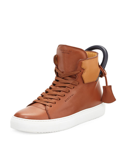 Buscemi 125mm High-Top Leather Sneaker with Padlock, Tan/Navy