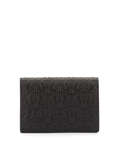 Embossed Leather Card Case, Black