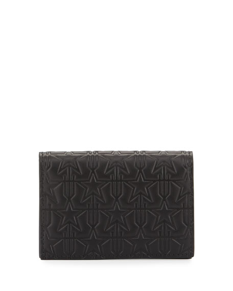 Givenchy Embossed Leather Card Case, Black