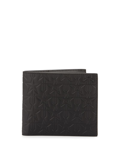 Star-Embossed Leather Bifold Wallet, Black