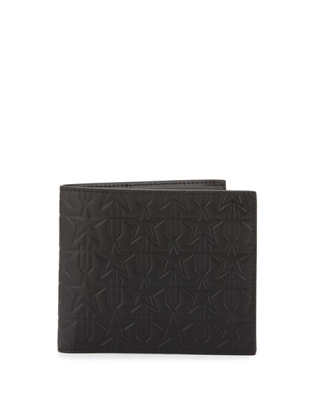Givenchy Star-Embossed Leather Bifold Wallet, Black