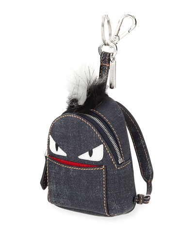 Monster Denim Backpack Charm W/Fur, Blue