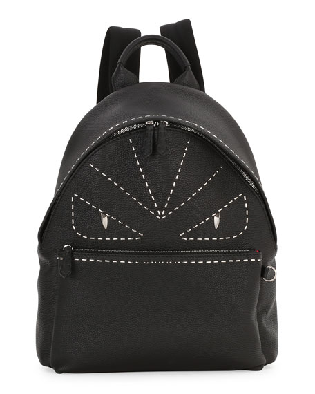 Fendi Stitched Monster Eyes Leather Backpack, Black