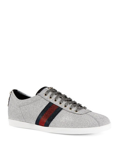 Men's Bambi Web Low-Top Sneakers with Stud Detail, Silver