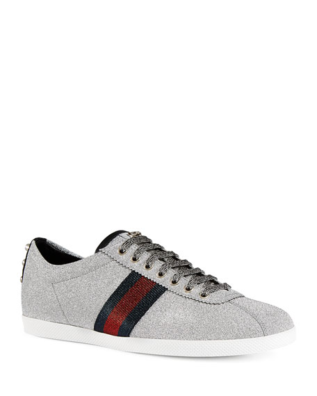 Gucci Men's Bambi Web Low-Top Sneakers with Stud