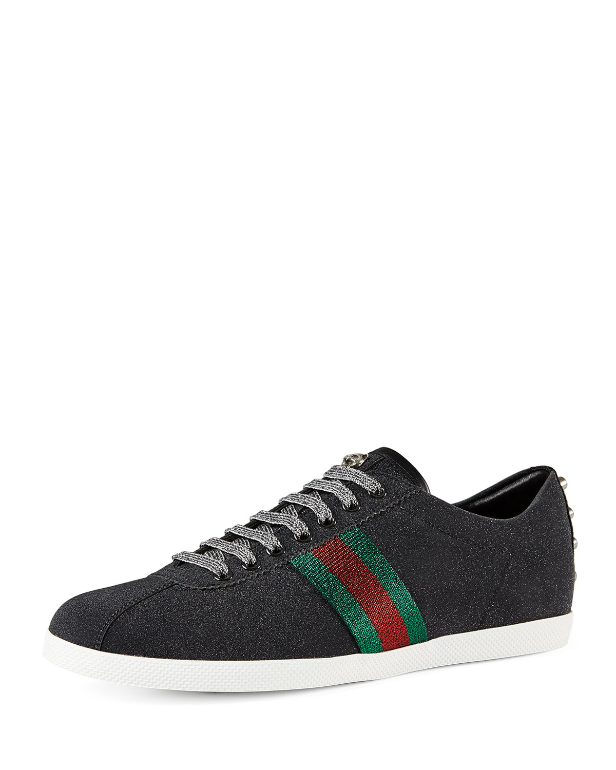 318db17ce Gucci Bambi Web Low-Top Sneaker with Stud Detail, Black | Neiman Marcus