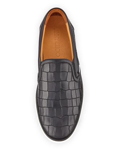 Grove Crocodile-Emobssed Skate Sneaker, Black