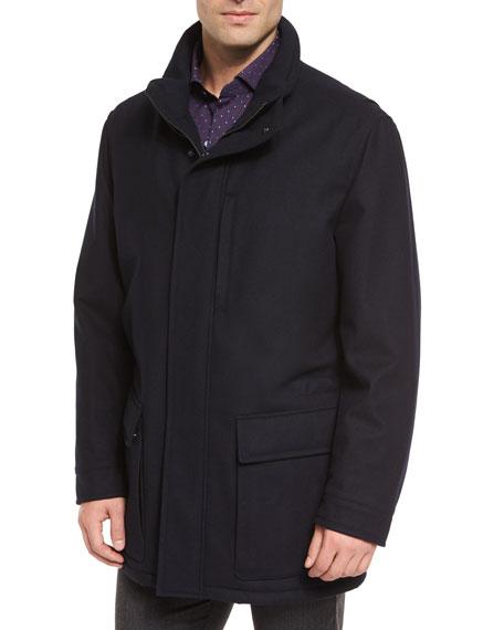 Ermenegildo Zegna Wool-Cashmere Blend Zip-Up Jacket, Navy
