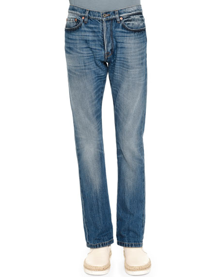 Valentino Slim-Fit Medium-Wash Denim Jeans, Blue