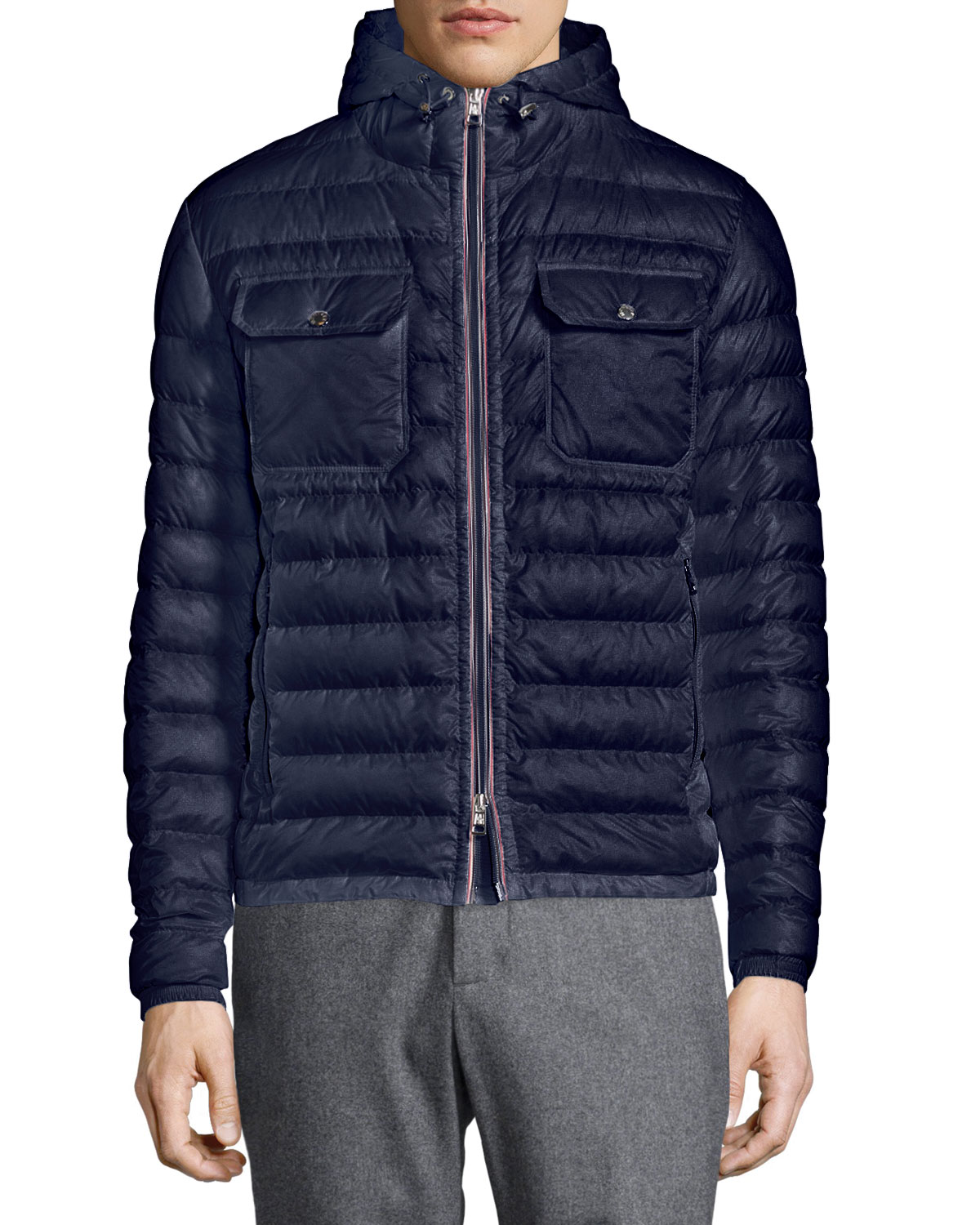 fa7a1330f Douret Quilted Nylon Jacket with Hood, Navy