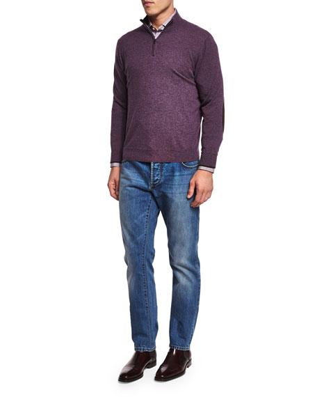 Five-Pocket Washed Denim Jeans, Blue