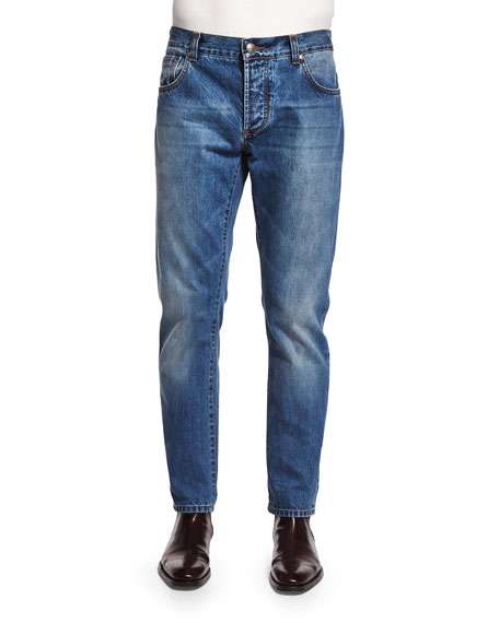 Isaia Five-Pocket Washed Denim Jeans, Blue