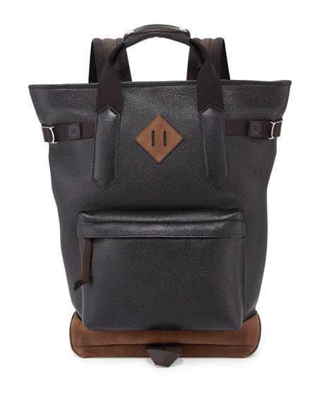 TOM FORD Two-Tone Leather Backpack Tote Bag, Black/Bone