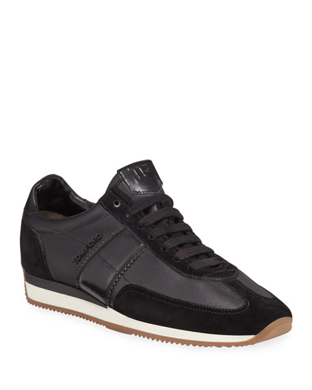 Men's Colorblock Leather-Suede Runner Sneakers, Black