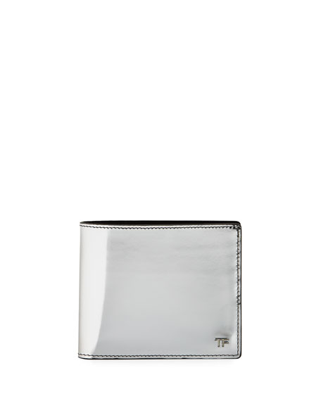 TOM FORD Men's Mirrored Leather Bi-Fold Wallet, Silver