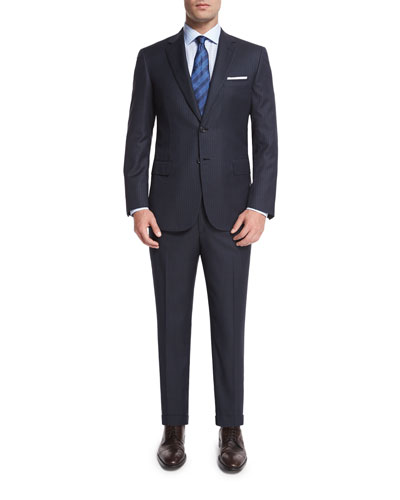 Birdseye Striped Two-Piece Wool Suit, Gray
