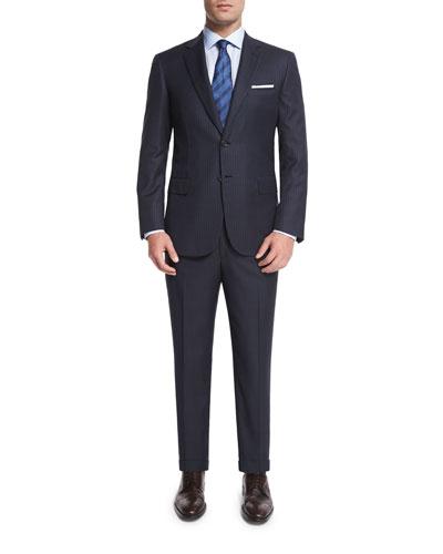 Birdseye Striped Two-Piece Wool Suit, Gray