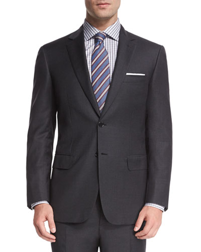 Houndstooth Two-Piece Wool Suit, Gray