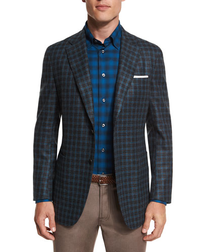 Check Two-Button Cashmere-Blend Sport Coat, Aqua/Charcoal
