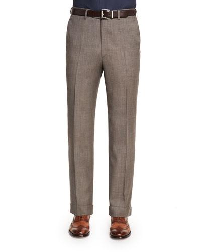 Sharkskin Flat-Front Wool Trousers, Tan
