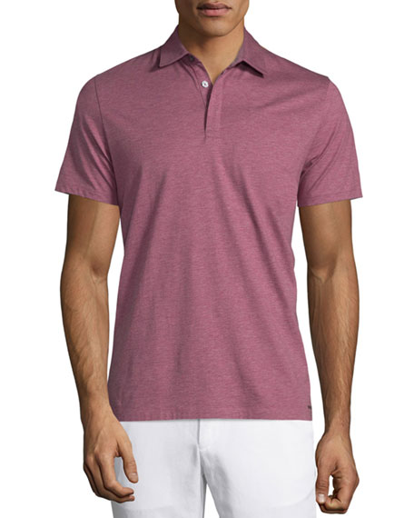 Michael Kors Cotton-Silk Short-Sleeve Polo Shirt