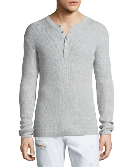 Michael Kors Ribbed Long-Sleeve Henley Shirt, Gray