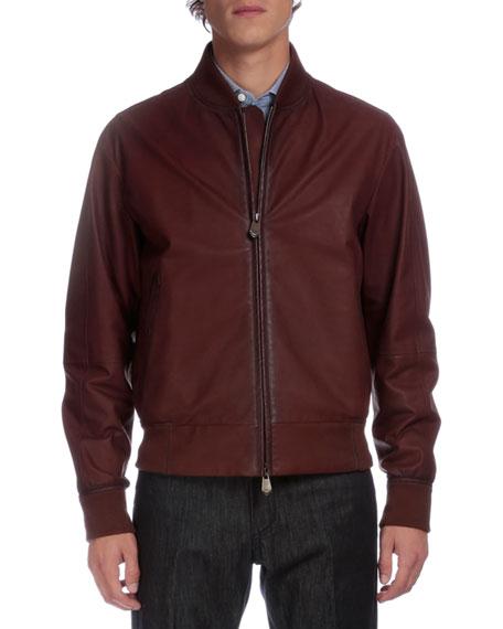 Berluti Full-Zip Leather Bomber Jacket, Brown