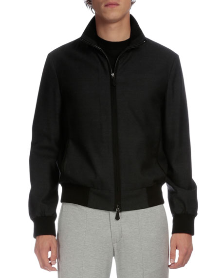 Berluti Full-Zip Bomber Jacket, Charcoal