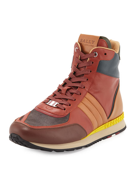 Bally Asiaki Colorblock Leather High-Top Trainer Sneaker, Pumpkin