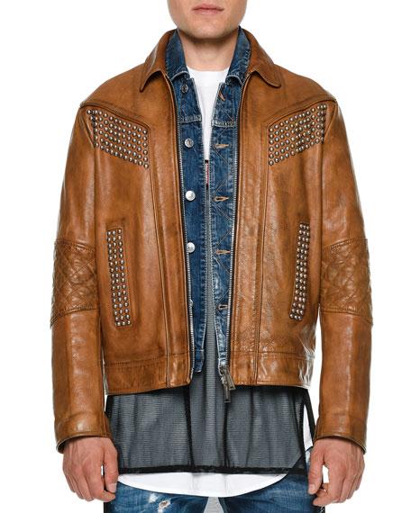 Dsquared2 Studded Zip-Up Leather Jacket, Camel
