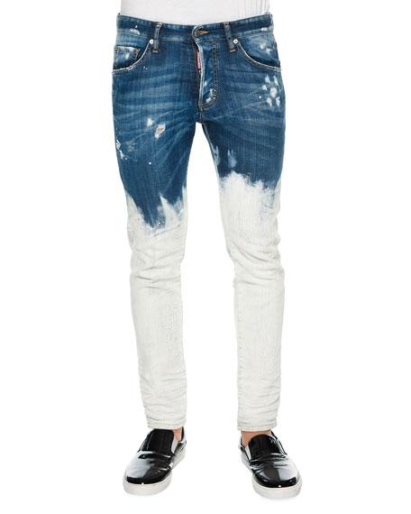 Dsquared2 Bleach-Dipped Slim-Fit Denim Jeans, Blue