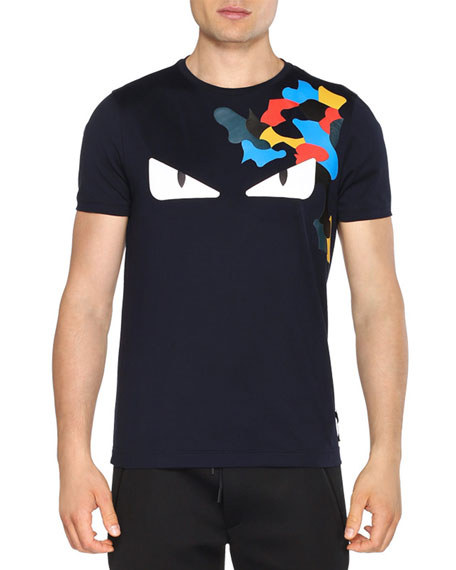 29778d67c Fendi Monster Eyes Short-Sleeve T-Shirt, Black | Neiman Marcus