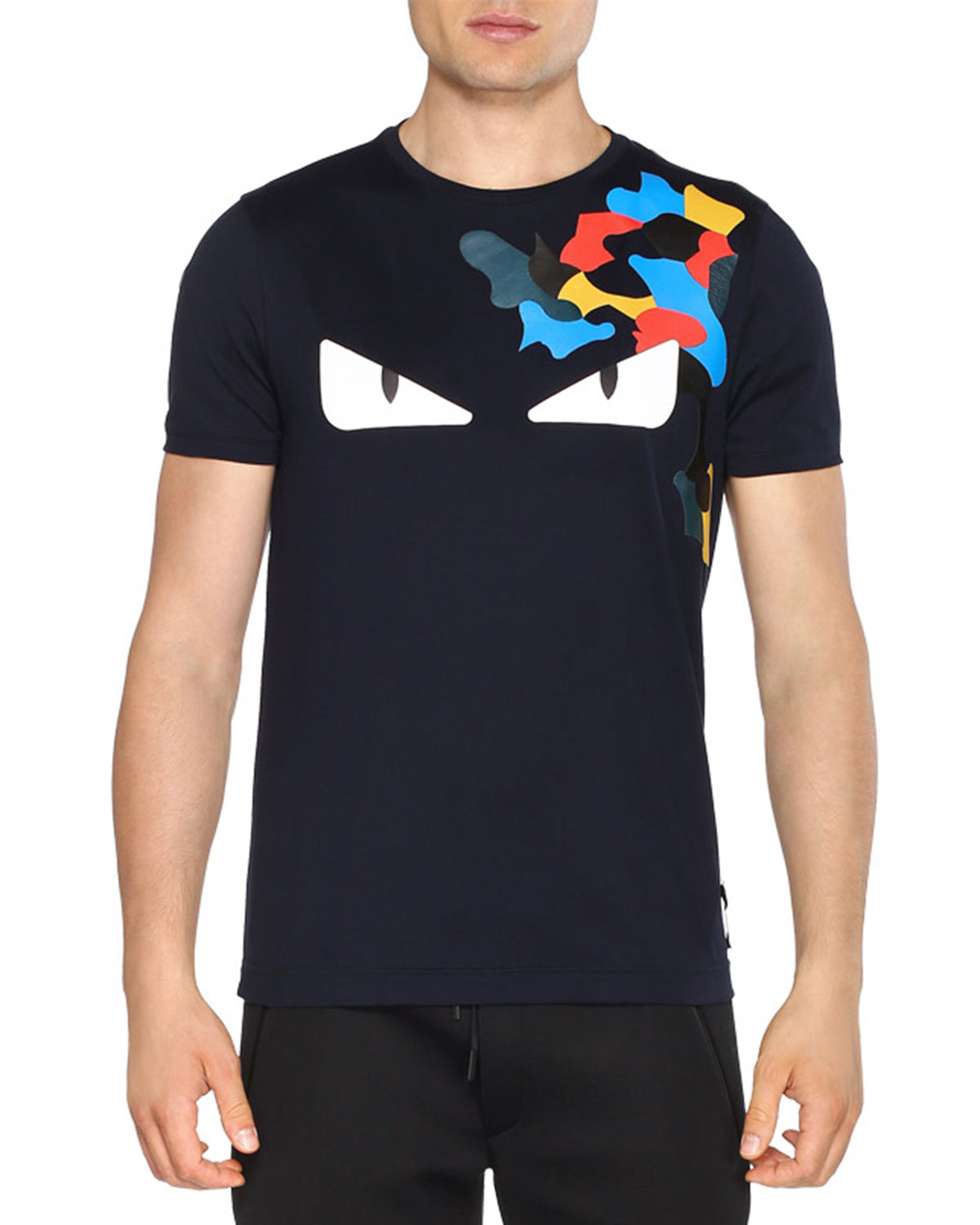 6a9df110 Fendi Monster Eyes Short-Sleeve T-Shirt, Black | Neiman Marcus