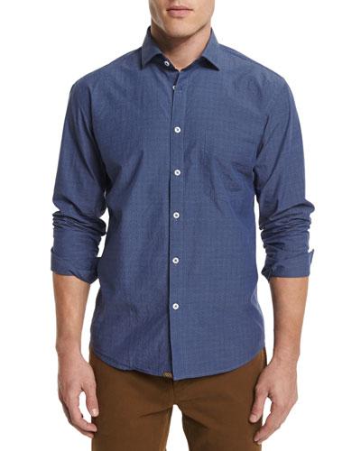 John T Printed Woven Sport Shirt, Navy
