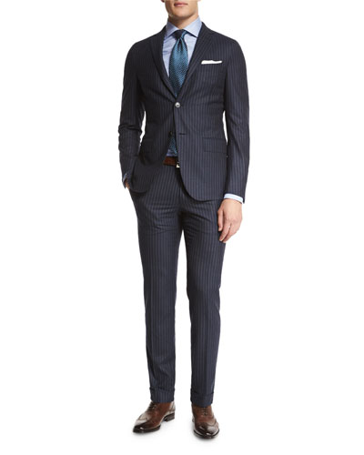 Striped Two-Piece Suit, Navy