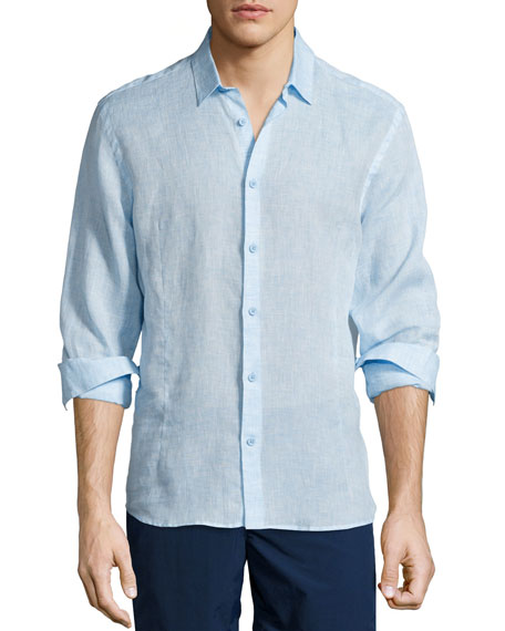 Orlebar Brown Morton Long-Sleeve Linen Shirt, Sky Blue