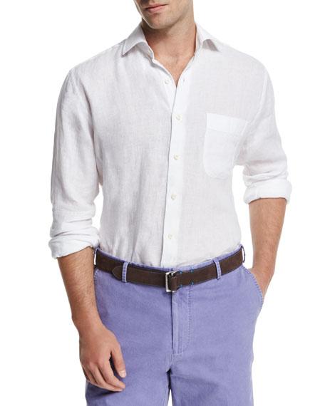 Peter Millar Linen Long-Sleeve Sport Shirt, White