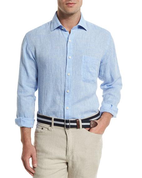 Peter Millar Solid Long-Sleeve Linen Shirt, Blue