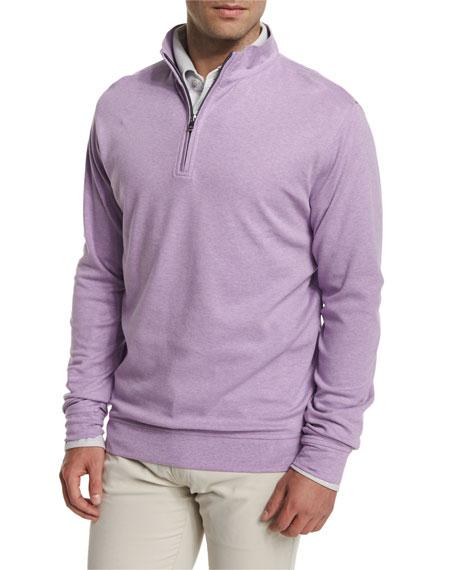 Peter Millar Interlock Quarter-Zip Pullover Sweater, Light Purple