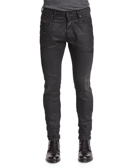 Diesel Tepphar Distressed Coated Jeans, Black