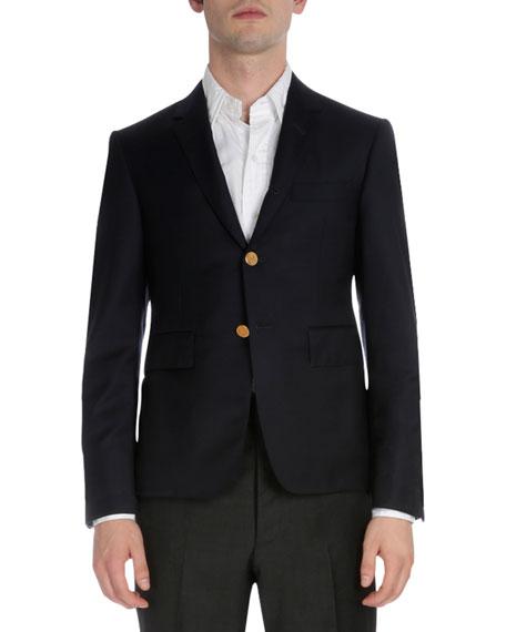 Classic Golden-Button Blazer, Navy